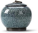 Urna de cremación para Cenizas humanas Urnas de Cenizas de cremación para Mascotas Cerámica de entierro Mascotas Casa Tumbas Memorial Adultos Niños Crematorio Recipientes funerarios (Azul)
