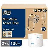 Tork 127530 Rollos de papel higiénico Advanced suave T6 / Rollos wc de 2 capas compatibles con el sistema para papel higiénico compacto Tork T6, 27 rollos x paquete