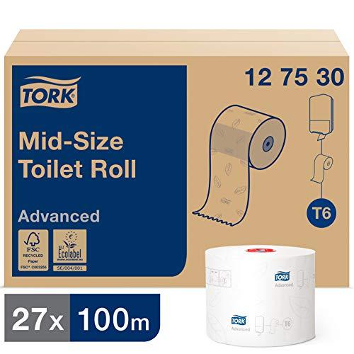 Tork 127530 weiches Midi Toilettenpapier in Advanced Qualität für Tork T6 Toilettenpapier Doppelrollenspender / 2-lagiges WC-Papier weich und reißfest, 27er Pack (27 x 100 Meter)
