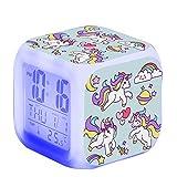 TCJJ Unicornio Despertador Digital para Niñas,Reloj de Cabecera con LED Luz de Noche para Infantil Hora de Visualización Temperatura Fecha de Alarma (Verde)