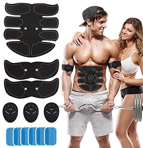 POPGER Muscle Toner Abdominal Trainer ABS EMS Toning Belt Wireless Portable with 10 PCS Training Gear for Waist Legs Arm Women Men Home Use