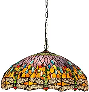 SHENGXUAN Tiffany Techo de Cristal lámpara Colgante 50cm Tiffany luz Estilo libélula Verde salón-Comedor Bar lámpara Colgante de Techo de Cristal