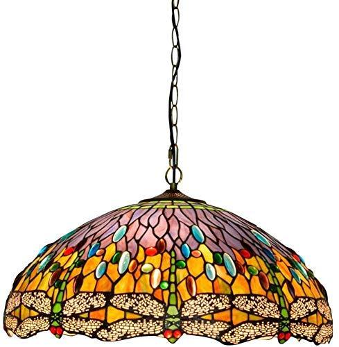 SHENGXUAN Tiffany Techo de Cristal lámpara Colgante 50cm Tiffany luz Estilo libélula...
