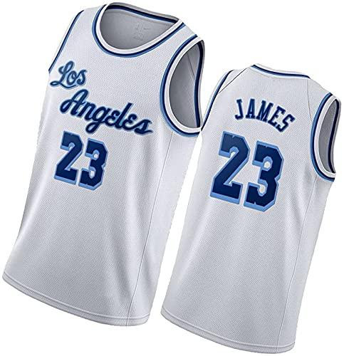 ALXLX 23 # Jersey de baloncesto para hombres y mujeres, poliéster neutro sin mangas delgados hombres con cuello en V transpirable bordado negro edición oro, blanco C - M