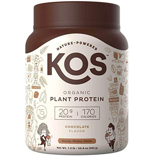 KOS Organic Plant Based Protein Powder – Raw Organic Vegan Protein Blend, 1.3 Pound, 15 Servings (Chocolate)