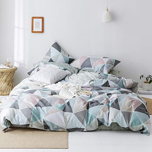 VClife Queen Bedding Collections, Reversible Geometric Triangle Printed Bedding Sets - 1 Duvet Cover 2 Pillowcases for Woman Man Teen Children, 100% Cotton Full/Queen Bedding