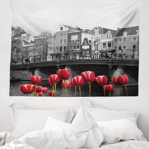 ABAKUHAUS Schwarz & weiß Wandteppich & Tagesdecke, Amsterdam-Kanal, aus Weiches Mikrofaser Stoff Wand Dekoration Für Schlafzimmer, 150 x 110 cm, Schwarz Weiß & Rot