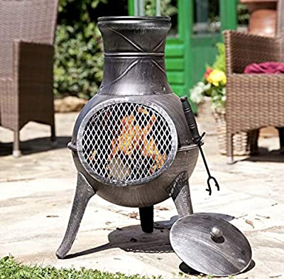 Panama LA HACIENDA Cast Iron Chiminea Garden Patio Heater Log Burner by LA HACIENDA