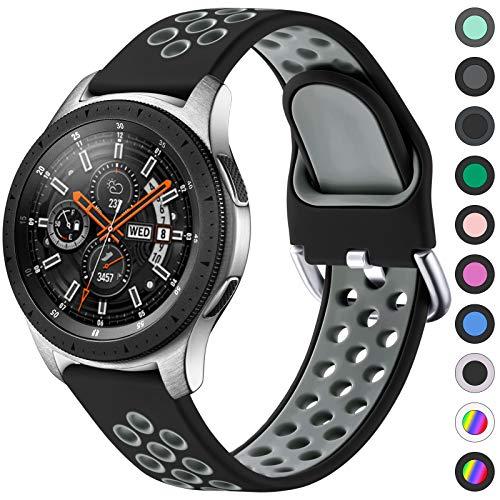 JUVEL Kompatibel mit Samsung Galaxy Watch 3 Armband 45mm/Galaxy Watch Armband 46mm, 22mm Sport Silikon Armband Atmungsaktive Ersatzarmbänder für Huawei Watch GT/GT2 46mm, Groß, Schwarzgrau