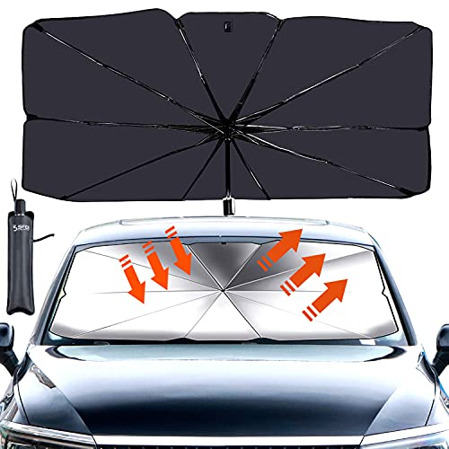 Sfee Car Sun Shade for Windshield, Car Umbrella Sun Shade Cover Foldable UV Rays and Heat Sun Visor Protector UV Block Front Window Sun Shade for Car Windshield Fit Most Vehicle + Storage Bag(L)
