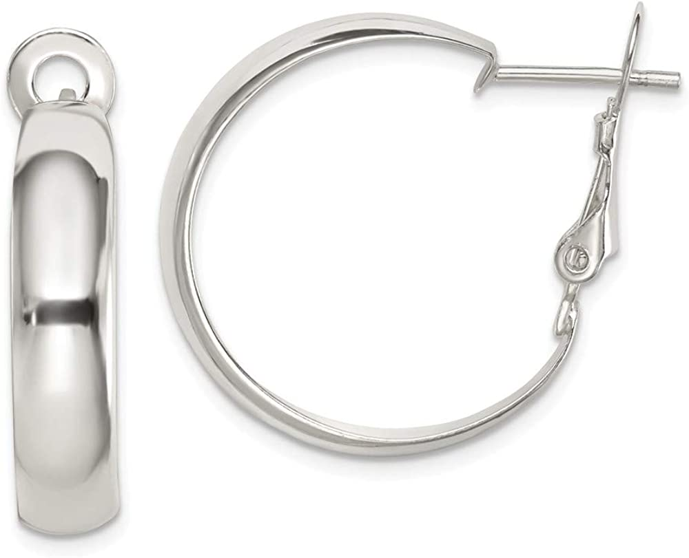 925 Sterling Silver Bombing new work Polished Max 86% OFF Earrings Back Hoop Omega