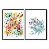 """自由奔放に生きるカラフルなタイガーツリー緑の葉の花花のポスター家の装飾のためのアートキャンバスドーム抽象的な色水彩画15.7"""" x23.6""""(40x60cm)2pcsフレームなし"""