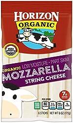 Horizon Organic String Cheese, Mozzarella, 6 Ounce, Individually Packaged Mozzarella String Cheese w