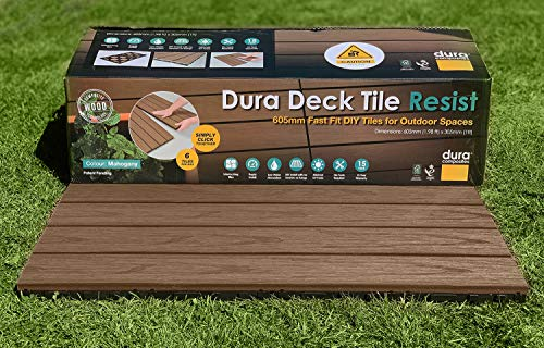 Dura Composites Garden Deck Tiles – Slip & Fade-Resistant Waterproof Decorative Composite Timber Decking – Smart Interlocking Design – 605mm x 305mm x 25mm (1.10m2) – 6 Tiles Per Pack in Mahogany