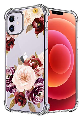 HEYORUN Flower Case Compatible for iPhone 12 Compatible for iPhone 12 Pro, Rose Flowers Girls and Women Floral Clear Back Case, Flowers Transparent Flexi TPU Bumper Drop Protective Case Cover