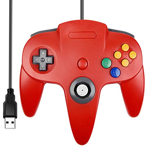 SAFFUN Classic Retro N64 Bit USB Wired Controller for Windows PC MAC Linux Raspberry Pi 3 (Red)