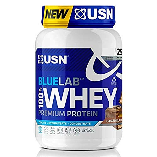 USN Blue Lab Whey Chocolate Caramel 908 g, 100 Percent Lean Muscle Protein Powder, Ideal for Recovery & Maintenance (Packaging may Vary)