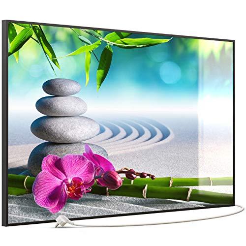 STEINFELD Heizsysteme® Elektro Heizung Glas Bild Infrarotheizung inklusive TS 20 Thermostat | Made in Germany | Motive 059 Zen-Garten (900 Watt, schwarz)