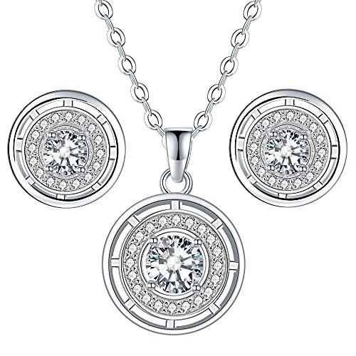 Micory Schmuckset 925 Sterling Silber Damen Runde Ohrringe Halsketten Set mit Zirkonia mit Geschenkbox, Verstellbar Kette 40+5cm