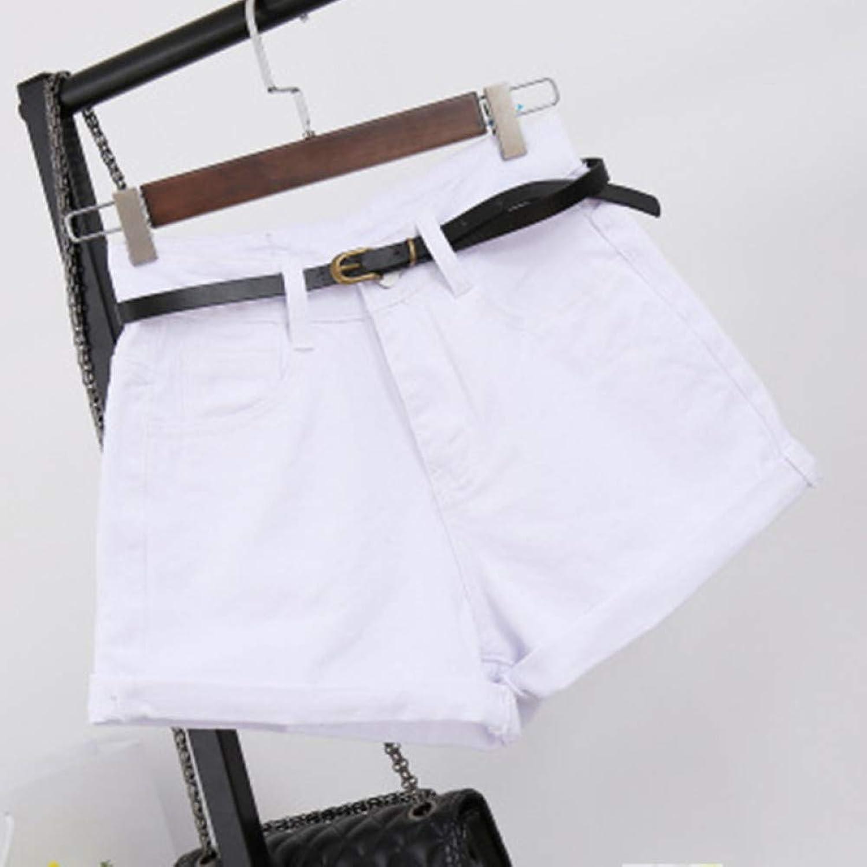 LMSHMDK Frauen Shorts Hohe Größe Denim Shorts Breites Bein Solide A-Linie Jeans Weibliche Kurze Sommer Beilufige Lose High Street Kleidung
