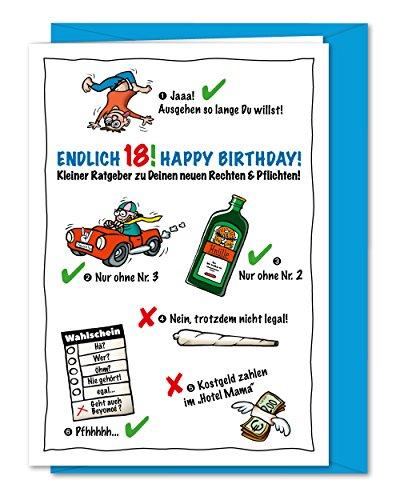 Lustige und freche XL Geburtstagskarte zum 18. Geburtstag, zur Volljährigkeit, Karte zum 18, zum Erwachsen werden - inklusive Umschlag (DIN A5)