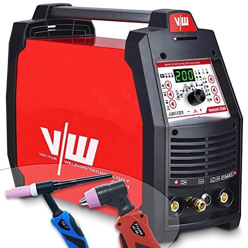 Wig Schweißgerät 200 Amp AC DC + Plasmaschneider 50 Amp Kontaktzündung + Elektroden Schweissgerät 170 Amp | Puls - 2 und 4 Takt - Jobspeicher - MMA - ARC - New York 2500 von Vector Welding