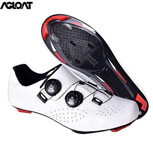 PIAOL Calzado De Ciclismo para Hombre,con Suela De Carbon Zapato De para Bicicleta De Carretera Transpirable Antideslizantes Zapatillas De Ciclismo MTB,White-39