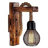 Lámpara de pared, lámpara de cuerda de cáñamo de madera retro industrial, lámpara vintage, lámpara rústica de interior, lámpara pastoral, iluminación decorativa para dormitorio / bar / cafetería