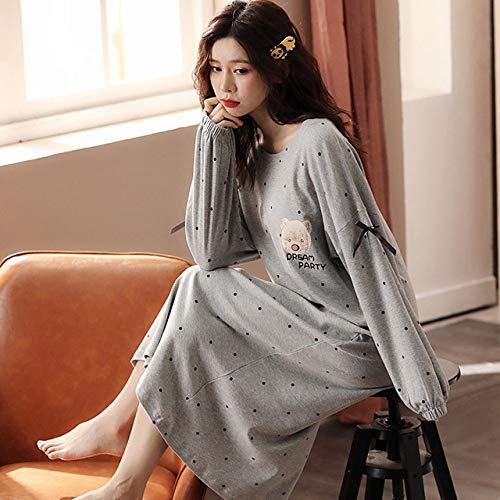 HUANSUN Otoño Invierno cálido camisón de Mujer Lindo camada niñas Ropa de Dormir de Manga Larga Pijamas Suaves de algodón camisón Informal Suelto, 011, M