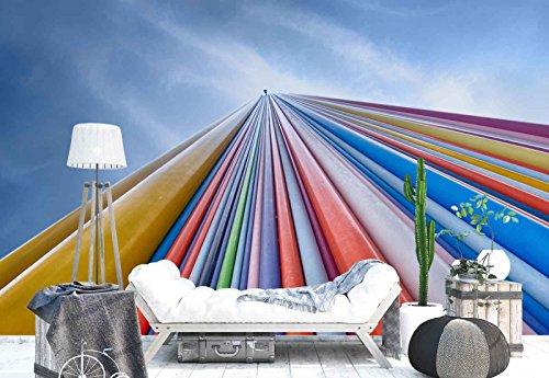 Vlies Fototapete Fotomural - Wandbild - Tapete - Bunte Rohre Fiberglas Kamin - Thema Architektur - MUSTER - 104cm x 70.5cm (BxH) - 1 Teilig - Gedrückt auf 130gsm Vlies - 1X-760093VEM