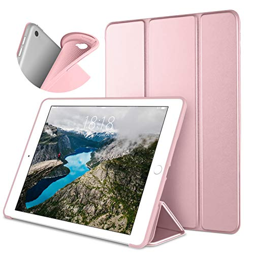 DTTO iPad Air 2 Case (2014 Released), Ultra Slim Lightweight Smart Case Trifold Stand with Flexible Soft TPU Back Cover for Apple iPad Air 2 (Model A1566/A1567), Rose Gold