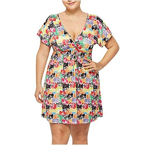Vestido de verano para mujer Venta Reino Unido Liquidación Moda Deep V-Cuello Cintura Elástica Impresión Vestido Más Tamaño Señoras Ropa Fiesta Elegante Vestidos Playa Vestido Casual