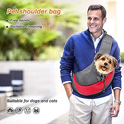 Achort Pet Carrier Hand Free Sling Puppy Carry Bag Small Dog Cat Traverl Carrier with Breathable Mesh Pouch for Outdoor Travel Walking Subway 12LB (Red) 2
