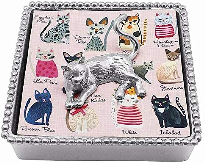 MARIPOSA Cat Beaded Napkin Box, Silver