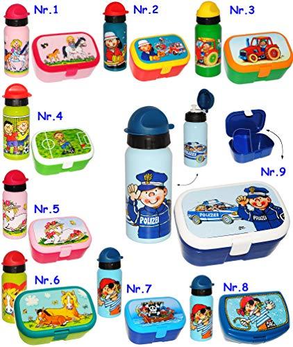 2 TLG. Set _ Brotdose & Trinkflasche -  Lotte und Ihr Pony & Pferd  - Lunchbox mit herausnehmbaren Fach / extra Einsatz - Küche Essen - Brotbüchse - für Mäd..