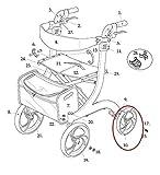 Left & Right Rear Wheel Assemblies with Bearings for Drive RTL10266 Nitro Rollator Walker (1026612-L & 1026612-R) Both Rear Wheels