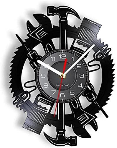 XYVXJ Herramientas de Carpintero Reloj de Arte Disco de Vinilo Retro decoración del hogar Logotipo de Garaje diseño Moderno Reloj de Pared Mudo Herramienta mecánica Hombre Arte de la Cueva