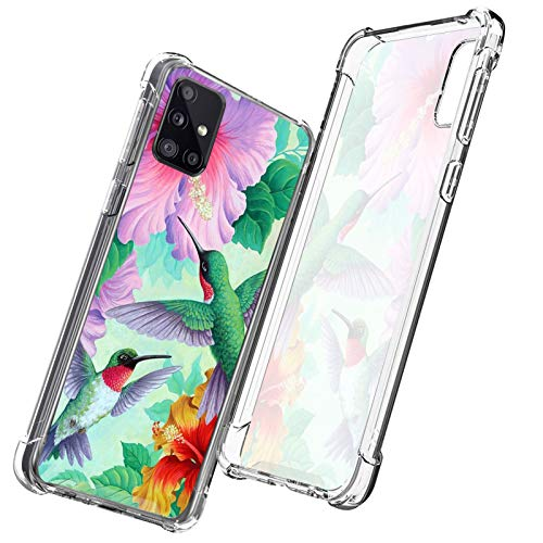 OOK Samsung Galaxy A51 5G Clear Phone Case Hawaii Hibiscus Hummingbird Drop Resistant Cover for Samsung Galaxy A51 5G