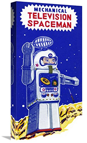 Global Gallery Budget GCS-376390-22-142 Retrobot Mechanical Television Spaceman Gallery Wrap Giclee on Canvas Wall Art Print