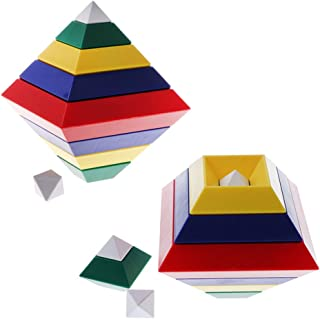 BAOBLADE 30 Pieces Multi-Change Pyramid Tower DIY Building Blocks Stacking Kids Eductional Toy Playset