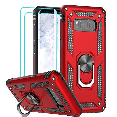 LeYi für Samsung Galaxy S8 Hülle mit 3D PET Schutzfolie(2 Stück),360 Grad Ring Halter Handy Hüllen Cover Bumper Schutzhülle für Case Samsung Galaxy S8 Handyhülle Rot