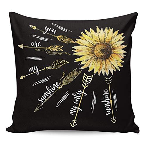 LAMANDA Sunflower with Fired Arrows Throw Pillow Case Cotton Linen Cushion Covers Home Decorative Creative Floral Pillowcases for Sofa Couch Bed Car 26x26in