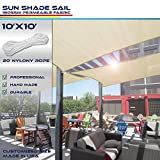 Sun Shade Sail Beige 10' x 10' Square Patio Permeable Fabric UV Block Perfect for Outdoor Patio Backyard - Customize Available