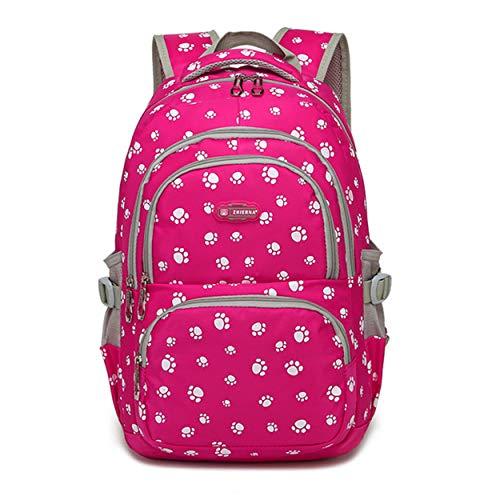 Bansusu Candy Color Students Satchel Shoulder School Bag Lovely Dog Paw Prints Large Capacity Backpack