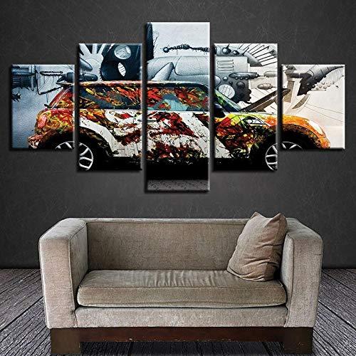 QZGRQ Cuadro de módulo de Pared de Acuarela de Alta definición 5 Juegos de graffitis Modernos Impresiones de automóviles Carteles de decoración del hogar Sala de niños Pintura de Lienzo Obra de Arte