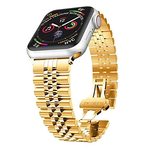 Para apple Watch Band Series 5 6 SE 44mm 40mm Pulsera de eslabones de acero inoxidable para iWatch 3 bandas 40mm 38mm Correa hombres-oro, 38mm