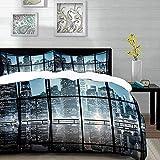 ropa de cama - Juego de funda nórdica, moderno, moderno paisaje de la ciudad de Nueva York en la noche con edificios rascacielos, negro blanco rojo, juego de funda nórdica de microfibra con 2 fundas d