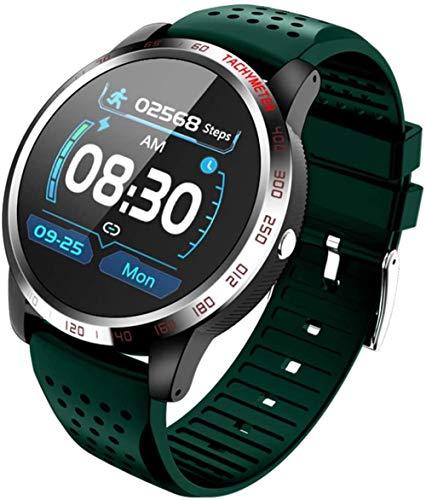 Reloj inteligente Fitness Tracker pantalla táctil SmartWatch IP67 impermeable con monitor de ritmo cardíaco, podómetro, monitor de sueño, cronómetro, correa de goma verde