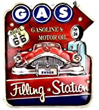 DiiliHiiri Cartel Retro Luminoso Garage Vintage Letrero Metálico Artesania Accesorios Decoración Hogar (Gas Filling Station 1)