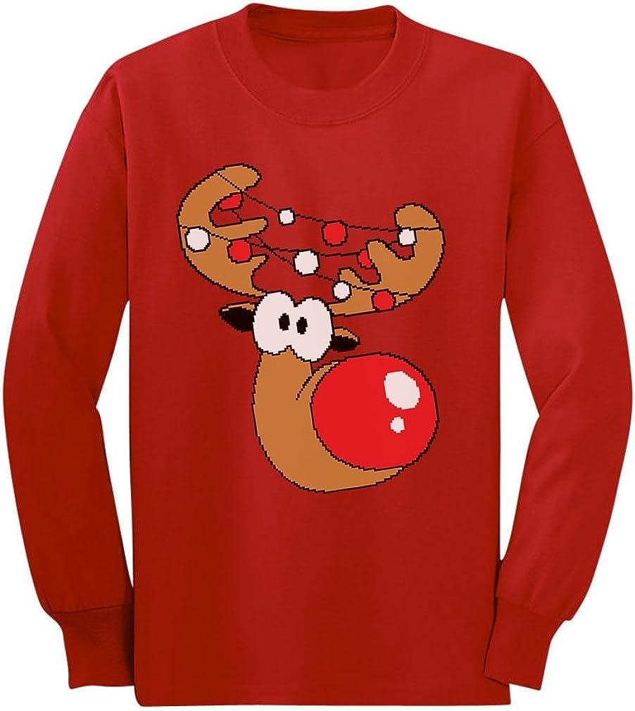 Cute Reindeer Boy Girl Christmas Toddler Kids Long Sleeve T-Shirt